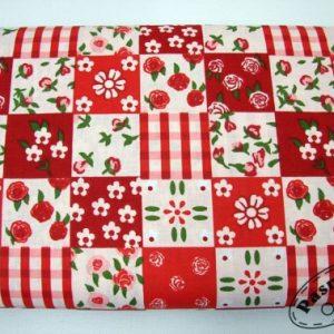 Czerwone kwadraty patchwork