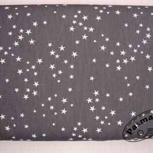 Białe gwiazdeczki na grafitowym – tkanina bawełniana