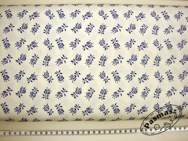 Szafirowa łodyga róży na bieli - tkanina bawełniana
