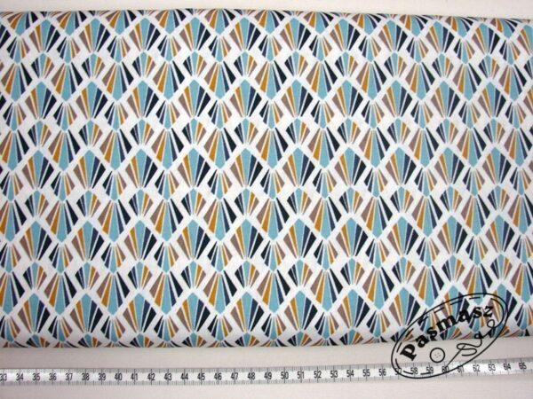 Wachlarze miód/niebieski - tkanina bawełniana