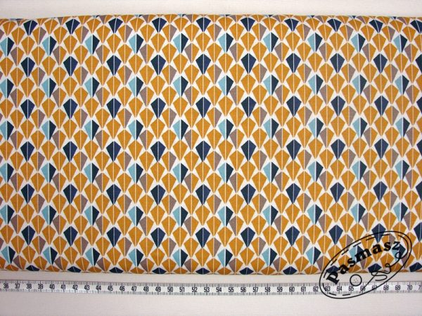 Latawce miód/niebieski - tkanina bawełniana