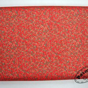 Zielone listeczki na czerwieni - tkanina bawełniana