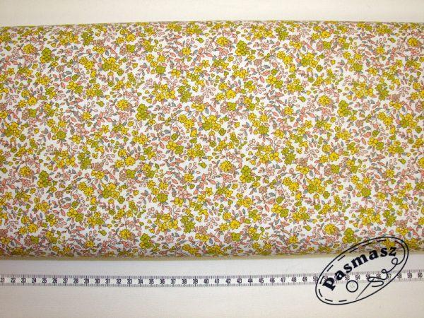 Tkanina bawełniana łączka żółto-zielona