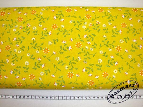 Tkanina bawełniana pomarańczowy kwiat na żółtym