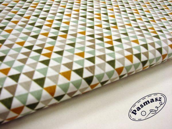 Trójkąciki miód/mięta - tkanina bawełniana