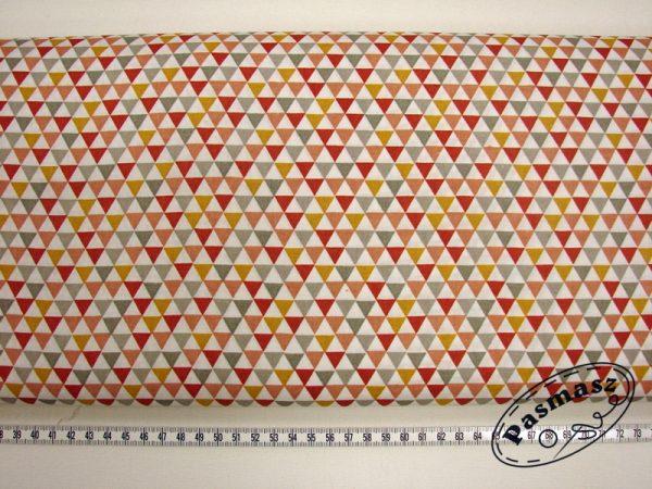 Trójkąciki szary/pomarańcz - tkanina bawełniana