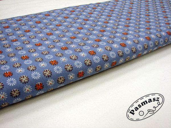 Kwiatuszki beż/pomarańcz na niebieskim - tkanina bawełniana
