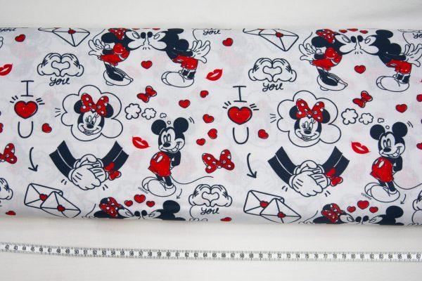 Zakochana Myszka Mickey – tkanina bawełniana