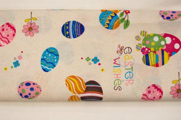 Wielkanocne życzenia – tkanina bawełniano-poliestrowa