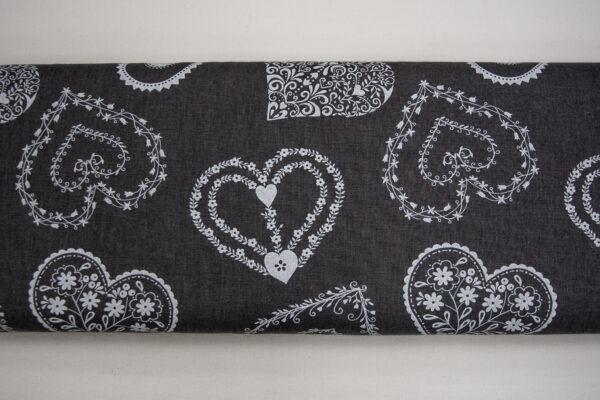 Serca na grafitowym – tkanina bawełniana