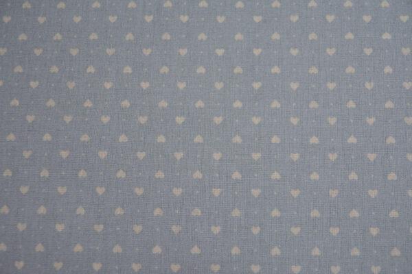 Serduszka na błękicie – tkanina bawełniana