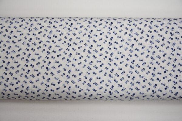 Szafirowa łączka na białym – tkanina bawełniana