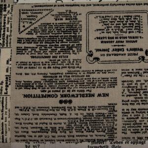 Stara gazeta beż – tkanina bawełniana