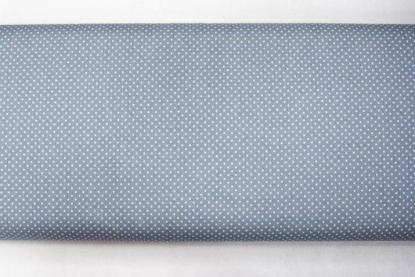 Kropeczki na szaroniebieskim - tkanina bawełniana