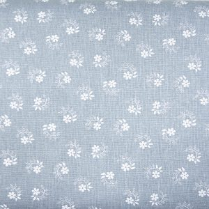 Kwiatuszek pętelka na szaroniebieskim - tkanina bawełniana