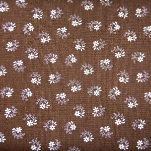 Kwiatuszek pętelka na brązie - tkanina bawełniana