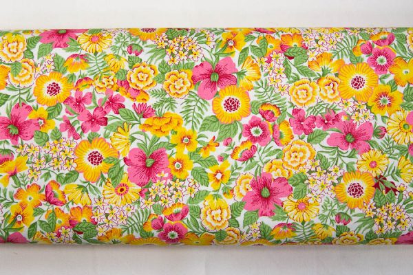 Różowo-żółte maki - tkanina bawełniana