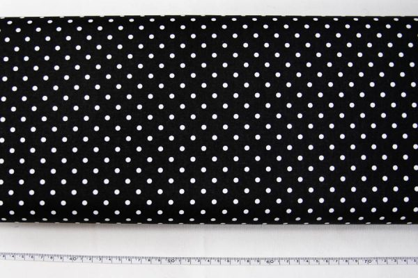 Kropki na czarnym - tkanina bawełniana
