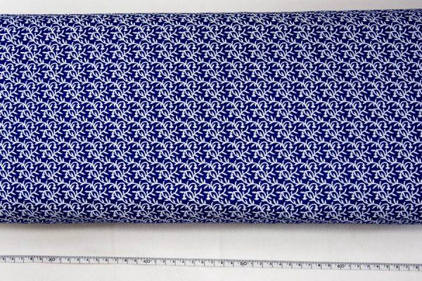 Listki na szafirowym - tkanina bawełniana