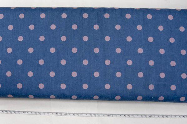 Duże grochy na jeansowym - tkanina bawełniana