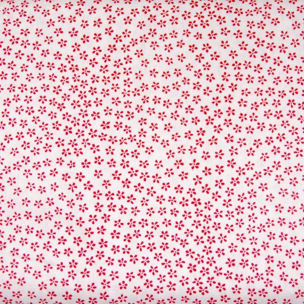 Drobne czerwone kwiatuszki na bieli - tkanina bawełniana