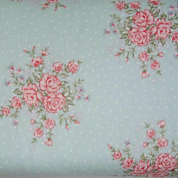 Róże i kropeczki na miętowym - tkanina bawełniana