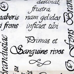 Łacińskie sentencje na bieli - tkanina bawełniana