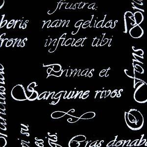 Łacińskie sentencje na czerni - tkanina bawełniana