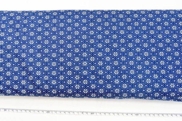 Kwiatuszki na szafirowym - tkanina bawełniana