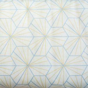 Beżowo-błękitne sześciany – tkanina bawełniana