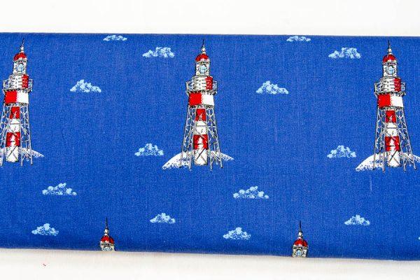 Latarnie morskie na szafirowym - tkanina bawełniana