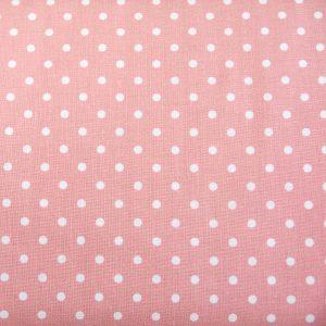 Tkanina bawełniana kropki na pudrowym różu