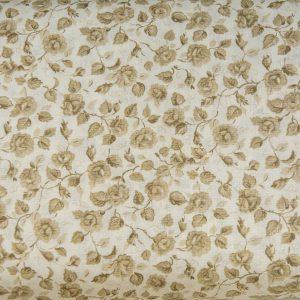 Beżowe pnące różyczki - tkanina bawełniana