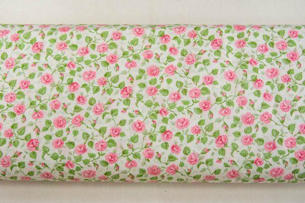 Tkanina bawełniana pnące różyczki