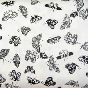 Motylki na bieli - tkanina bawełniana