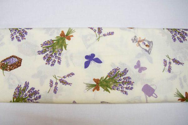 Lawenda i motylki na bieli - tkanina bawełniana