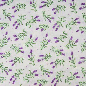 Gałązki lawendy na bieli – tkanina bawełniana