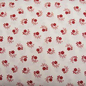 Kwiatuszek pętelka czerwony na bieli - tkanina bawełniana