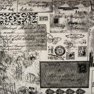 Stara gazeta na bieli - tkanina bawełniana