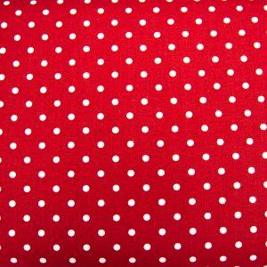 Kropki na czerwonym - tkanina bawełniana