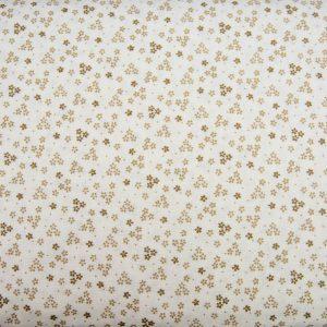 Trzy kwiatuszki beż na bieli - tkanina bawełniana