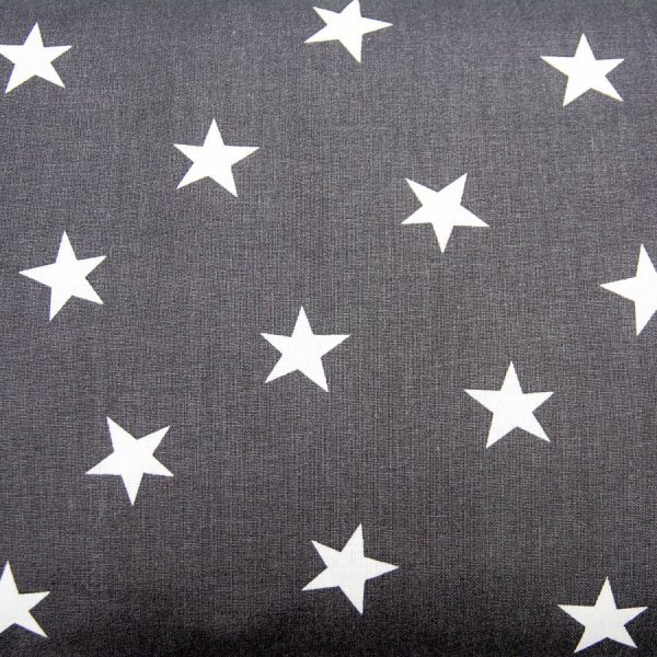 Gwiazdy na grafitowym - tkanina bawełniana