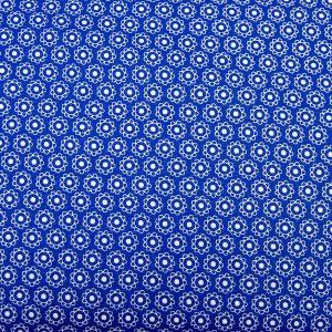 Kwiatki na niebieskim - tkanina bawełniana