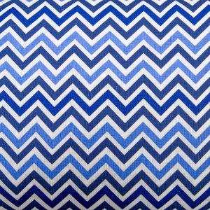 Zygzak niebieski - tkanina bawełniana