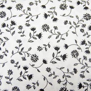 Pnące czarne kwiecie - tkanina bawełniana