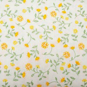 Pnące żółte kwiecie - tkanina bawełniana