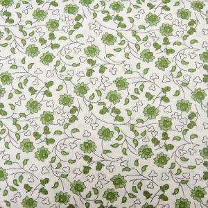 Zielone kwiecie - tkanina bawełniana