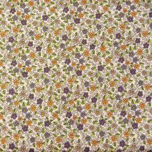 Łączka fioletowo-pomarańczowa - tkanina bawełniana
