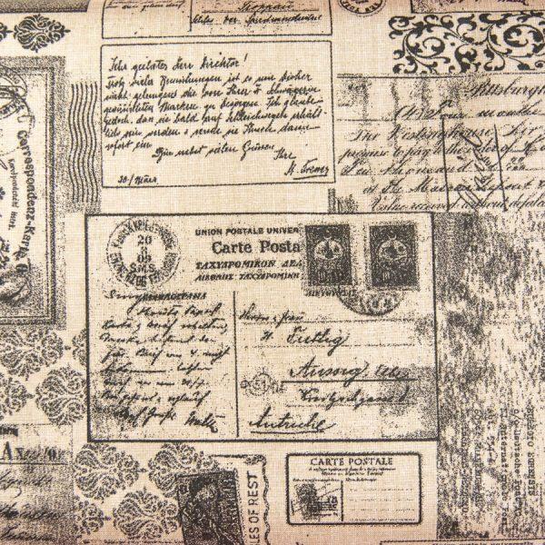 Stare pocztówki na beżu - tkanina bawełniana