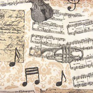 Muzyczny beż - tkanina bawełniana